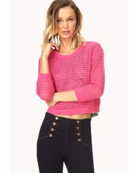 Forever 21 - Pink Standout Open-knit Sweater - Lyst