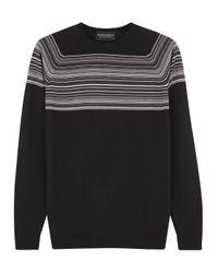 John Smedley Black Striped Wool Jumper for men