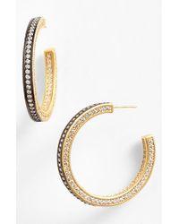Freida Rothman - Metallic 'classics' Pave Inside Out Hoop Earrings - Lyst