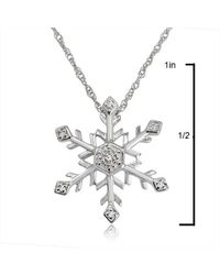 Amanda Rose Collection - Natural Diamond Snowflake Pendant-necklace In Sterling Silver - Lyst