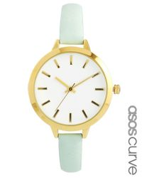 ASOS Metallic Large Face Slim Strap Watch