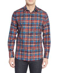 Robert Graham Brown 'maccabe' Classic Fit Embroidered Check Sport Shirt for men