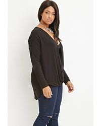 Forever 21 | Black Plus Size Lace-paneled Surplice Top You've Been Added To The Waitlist | Lyst