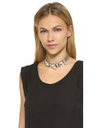 DANNIJO | Metallic Mariel Necklace - Clear/ox Silver | Lyst