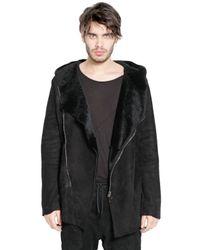 Giorgio Brato Black Hooded Merino Shearling Jacket for men