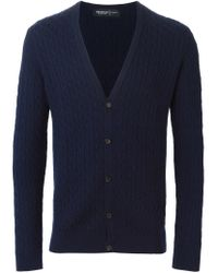 Pringle of Scotland - Blue Cable Knit Cardigan for Men - Lyst