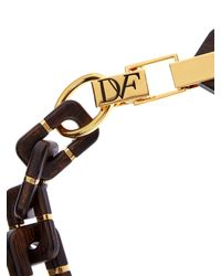 Diane von Furstenberg | Metallic Geometric Wood-Link Necklace | Lyst