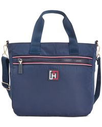Tommy Hilfiger | Blue Solid Nylon Large Convertible Satchel | Lyst