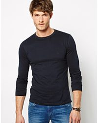 French Connection | Blue Long Sleeve Top Sneezy Crew for Men | Lyst