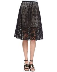 See By Chloé | Black Panelled Broderie Anglaise Skirt | Lyst