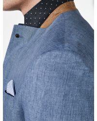 John Lewis Blue Delave Linen Tailored Jacket for men