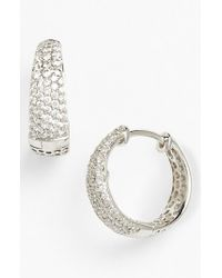 Roberto Coin | Metallic 'scalare' Diamond Hoop Earrings | Lyst