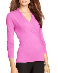 Lauren by Ralph Lauren | Purple Jersey Wrap Top | Lyst