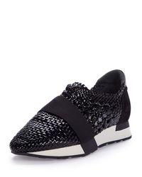 Balenciaga Black Woven Leather Sneaker