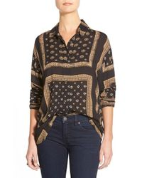 Free People | Black 'little Secrets' Voile Shirt | Lyst