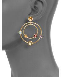 Marco Bicego | Metallic Multi Gemstone 18k Yellow Gold Double Circle Earrings | Lyst