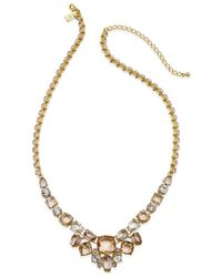 kate spade new york | Gold-tone Pink Stone Frontal Necklace | Lyst