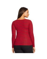 Ralph Lauren | Red Striped Ballet-neck Top | Lyst