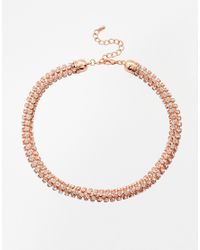Lipsy - Metallic Twisted Cup Chain Choker Necklace - Lyst
