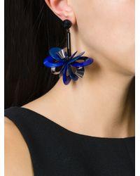 Erika Cavallini Semi Couture | Blue Flower Drop Earrings | Lyst
