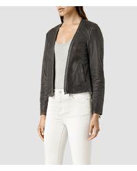 AllSaints - Black Dare Leather Biker Jacket - Lyst