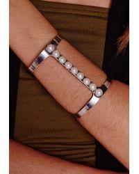 Missguided - Metallic Pearl Bracelet Silver - Lyst