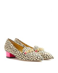Charlotte Olympia Natural Francis Leopard-Print Loafers