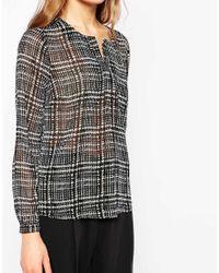 Vero Moda Black Long Sleeve Checked Blouse