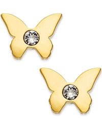 kate spade new york | Metallic 14k Gold-plated Crystal Accent Butterfly Stud Earrings | Lyst