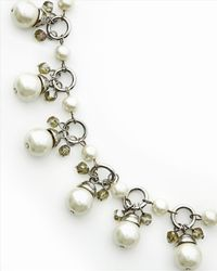 Jaeger Metallic Pearl And Crystal Necklace