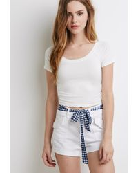 Forever 21 | White Gingham Belt Shorts | Lyst