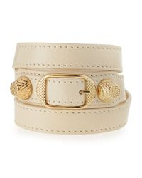 Balenciaga | White Arena Leather Wrap Bracelet | Lyst