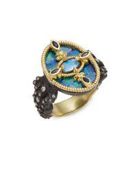Armenta - Blue Old World Fleur De Lis Diamond & Boulder Opal Ring - Lyst