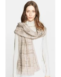 Fabiana Filippi - Natural Paillette Detail Plaid Scarf - Lyst