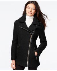 Calvin Klein Black Asymmetrical-zip Wool Coat