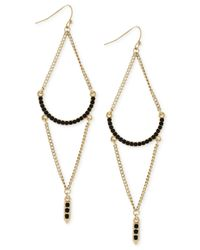 BCBGeneration | Metallic Gold-tone Black Bead Chandelier Earrings | Lyst