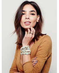 Free People | Natural Baton Leather Wrap Cuff | Lyst