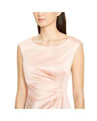 Ralph Lauren - Pink Ruched Satin Dress - Lyst
