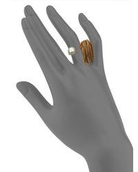 Ca&Lou | Metallic Inez Faux Pearl & Tassel Ring | Lyst