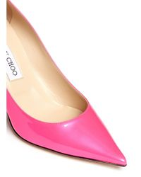 Jimmy Choo Pink 'agnes' Patent Leather Point Toe Pumps