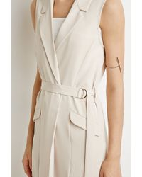 Forever 21 | Natural Belted High-slit Vest | Lyst