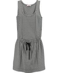 See By Chloé Black Houndstooth Cotton-blend Jersey Dress