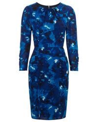 Whistles Blue Izzey Marbled Print Stretchy Silk Bodycon Dress