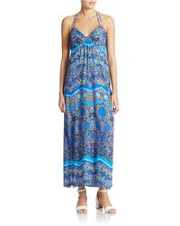 Laundry by Shelli Segal | Gray Printed Maxi Dress | Lyst