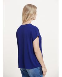 Violeta by Mango - Blue Flowy Textured Blouse - Lyst