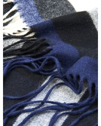 Burberry Prorsum - Blue Fringed Cashmere Scarf for Men - Lyst