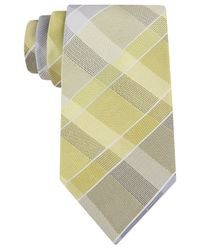 Kenneth Cole Reaction - Yellow Empire Grid Tie for Men - Lyst