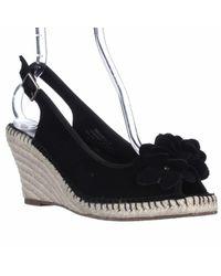 Bandolino Black Cordelia Espadrille Slingback Wedge Sandals
