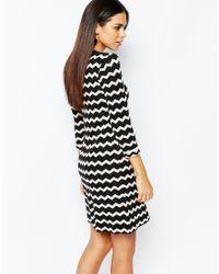 Warehouse Black Chevron Dress