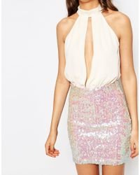 ASOS - Pink Tall Sequin Mini Dress With Plunge - Lyst